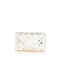 Girls silver metallic laser cut clutch bag