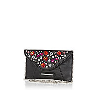 Girls black gem embellished clutch bag