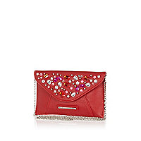 Girls red gem embellished clutch bag