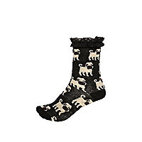 Girls black pug print socks