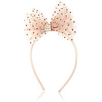 Girls light pink netted bow alice band