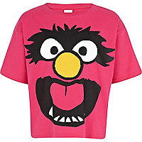 Girls pink Muppet character cropped t-shirt