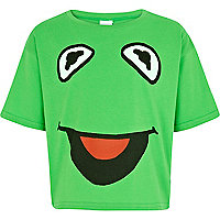 Girls green Kermit the frog cropped t-shirt