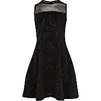 Girls black embossed scuba skater dress