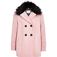 Girls pink faux fur pea coat