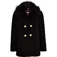 Girls black faux fur pea coat