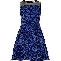 Girls blue baroque fit and flare dress