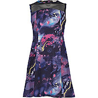 Girls purple cosmic print fit and flare dress