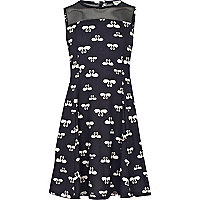 Girls black swan print fit and flare dress