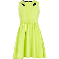 Girls lime green cut out skater dress