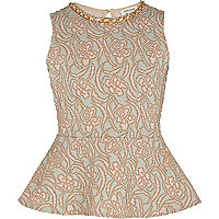 Girls pink floral jacquard peplum top