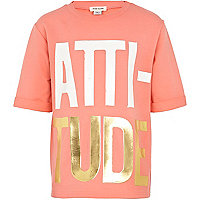Girls orange attitude print sweat t-shirt