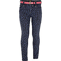 Girls blue animal print skinny jeans