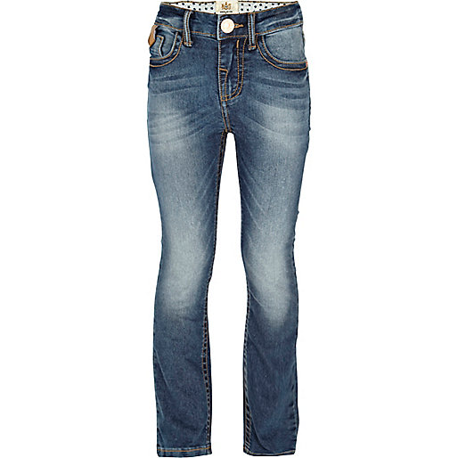 Girls blue mid wash boot cut jeans