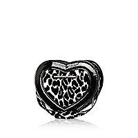 Girls black leopard print heart bag