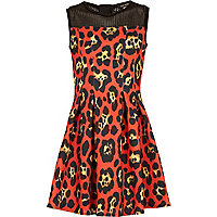 Girls orange leopard print scuba dress