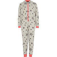 Girls grey star print all-in-one