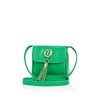 Girls green tassel cross body bag