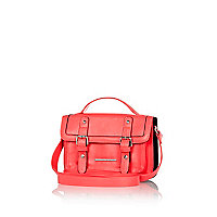 Girls coral fluro satchel