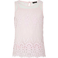 Girls pink crochet lace vest top