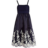 Girls navy Little MisDress strappy prom dress