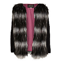 Girls black monochrome faux fur jacket