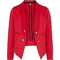 Girls red scuba tux blazer