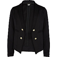 Girls black scuba tux blazer