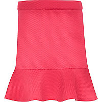 Girls pink fluted hem skirt