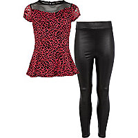 Girls red lace peplum top and leggings set