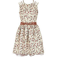 Girls cream floral print prom dress