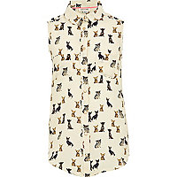 Girls cream dog print sleeveless shirt