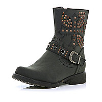 Girls black studded biker boots