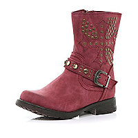 Girls dark red studded biker boots