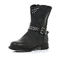 Girls black diamante studded biker boots