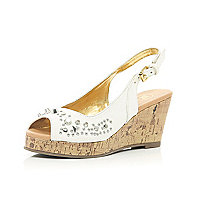 Girls white studded peep toe wedges