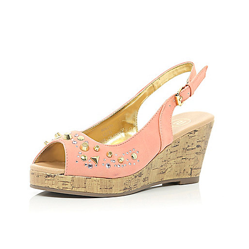 Girls coral studded peep toe wedges