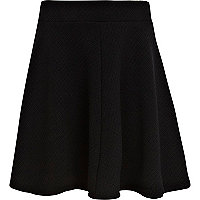 Girls black quilted skater skirt