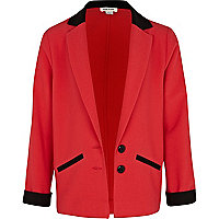 Girls coral colour block tux blazer