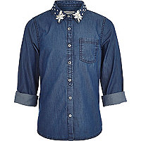 Girls blue embellished collar denim shirt