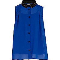 Girls blue embellished collar blouse