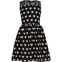 Girls black heart print prom dress