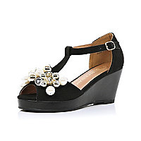 Girls black pearl trim wedges