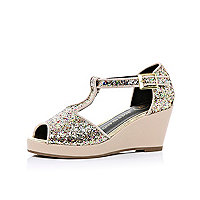 Girls beige glitter peep toe wedges