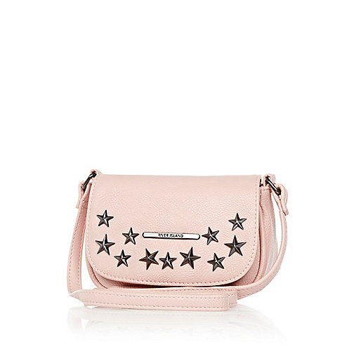 Girls pink star studded cross body