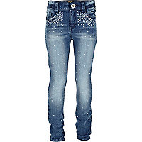 Girls blue diamante embellished skinny jeans