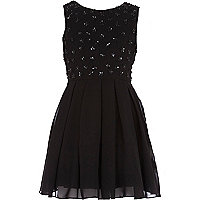 Girls black star bodice dress