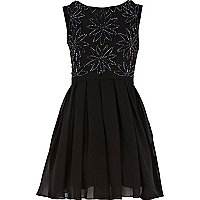 Girls black beaded flower prom dress