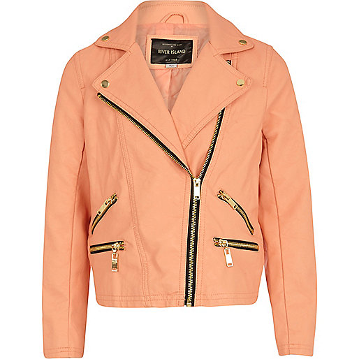 Girls pink leather look biker jacket