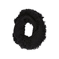Girls black tassel cosy snood